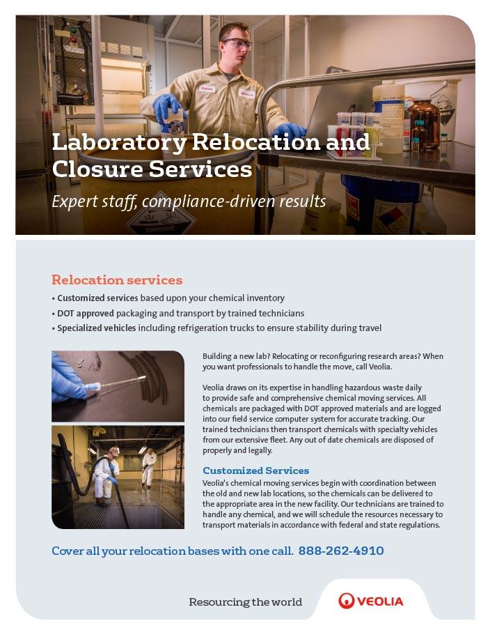 Laboratory relocation and closure services