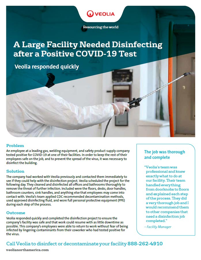 Large Facility Needed Disinfecting After a Positive COVID-19 Test