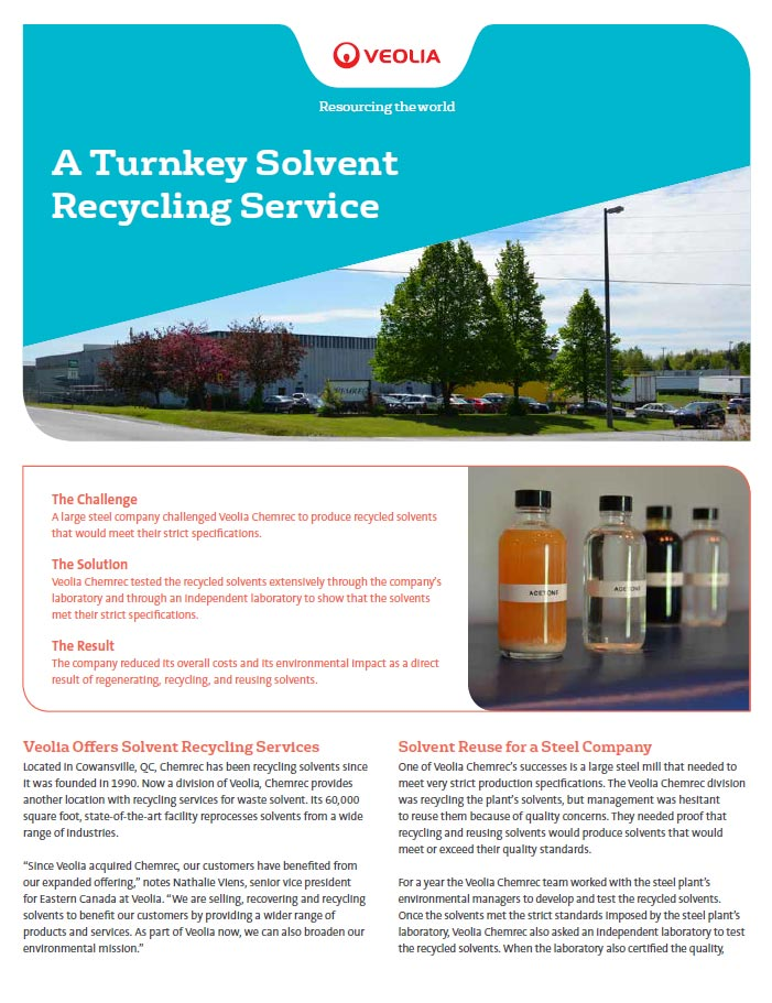 Chemrec Turnkey Solvent Recycling Case Study