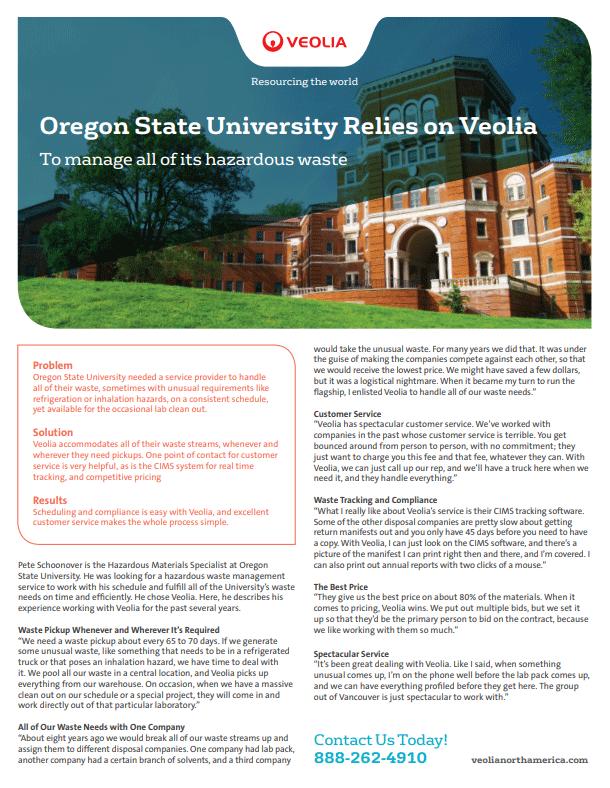 Oregon State University relies on Veolia