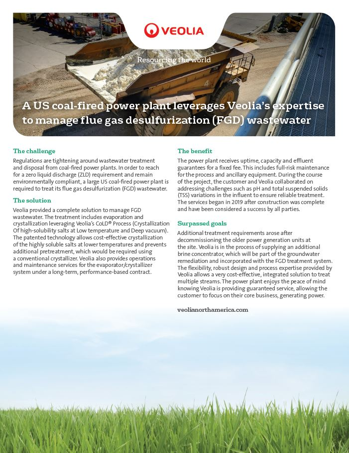 Veolia helps coal-fired power plant manage flue gas desulfurization wastewater